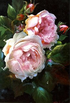 Rose beauty in pink. Motif Floral, Arte Floral, Rose Pictures, Oil Painting Flowers, Rose Art, Botanical Prints, Beautiful Roses, Vintage Flowers, Pink Roses