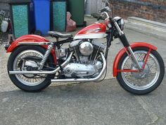 1964 Harley Davidson Sportster in red & white, right side