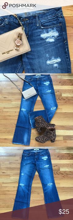 Distressed Jeans Abercrombie and Fitch distressed denim jeans size 6 regular. Waist is size 28 and length is 33. Jeans are boot cut. Previously worn. In good condition. Minimal fray at bottom some was intentional from manufacturer. Abercrombie & Fitch Jeans Boot Cut