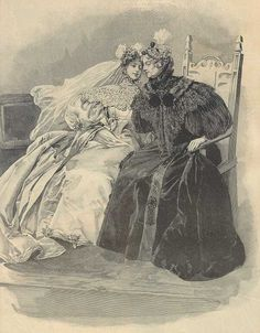 This striking image contrasts a youthful bride and mature widow, showing how deeply some women expressed their mourning. While etiquette books required widows and close relatives in mourning to wear black for at least a year, many women wore grey or purple to weddings. This illustration reveals how some women wore black for the remainder of their lives, a devoted tribute to their lost loved ones.
