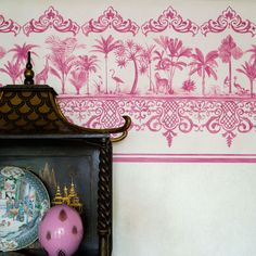 The Stunning Rousseau Border from Cole & Son, is a smaller version of the original Rousseau wallpaper. The Border is the perfect size, which showcases all of the different scenes featuring palm trees and some exotic animals. The Rousseau Border is avai Empire Wallpaper, Wallpaper Uk, Metallic Wallpaper, Geometric Wallpaper, Designer Wallpaper, Pattern Wallpaper, Cole Son, Fries, Cole And Son Wallpaper