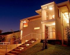 Shipping Container Homes for the Ultimate Recycle Container Houses, Cargo Container, Building A Container Home, Container Cabin, Container Buildings, Two Story Homes, Custom Home Designs, Custom Homes, Used Shipping Containers