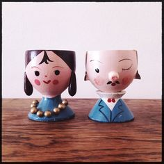 Sevi Mister & Missus Egg Cup Pair  Vintage Made in Italy by LILVENSHOP, $25.00