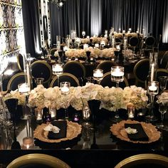 """""""Pinch me happy, i'm in love ? Classic black and gold with ivory floral cen. """"Pinch me happy, i'm in love ? Classic black and gold with ivory floral centerpieces via Wedding Goals, Wedding Themes, Wedding Colors, Wedding Planning, Dream Wedding, Wedding Day, Great Gatsby Wedding, Wedding Reception, Floral Centerpieces"""