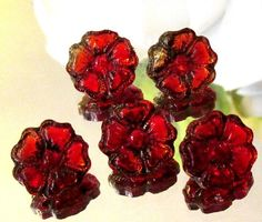5 ANTIQUE DIMINUTIVE RUBY RED GLASS FLOWER BUTTONS GOOD FOR DOLL CLOTHES N37