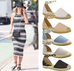 da865cdc8f0bb New Ladies Womens Flats Studded Espadrilles Ankle Strap Sandals Pumps Shoes  Size in Clothes