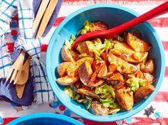 BH&G roasted potato salad With lemon & dijon mustard Roasted Potato Salads, Roasted Potatoes, Salad Dressing Recipes, Salad Recipes, Bhg Recipes, Potato Recipes, Recipies, Quick Kimchi, Quick Weeknight Meals
