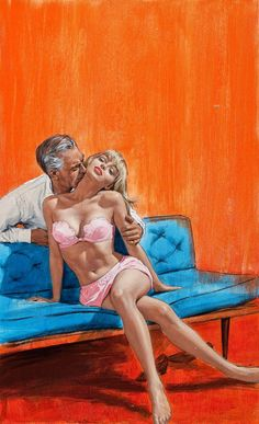 Pulp cover illustration for 'The Boss's Couch', featuring a very mid century modern blue sofa