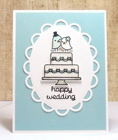 Wedding Card Happy Wedding Wedding Cake Handmade by doodleshop