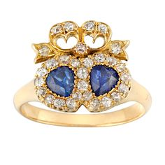 Victorian Twin Heart Sapphire Diamond Gold Ring | From a unique collection of vintage cluster rings at https://www.1stdibs.com/jewelry/rings/cluster-rings/
