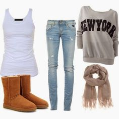 Brown Cute Ugg Boots, Grey New York Sweater, Crew Neck, Skinny Jeans with Suitable Scarf and White Blouse