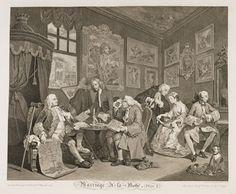 William HOGARTH / Marriage à la Mode - Plate 1 / v. 1743-1745 / Gravure sur cuivre