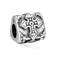 Carved Cross Charm 925 Sterling Silver