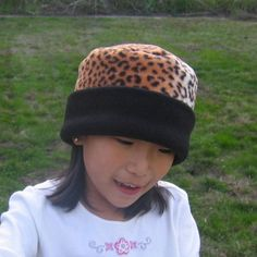 Children Girls Fleece Hat  Leopard Print Pillbox by DinkyDimples, $10.00