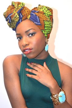 Head wrap ~African fashion, Ankara, Kente, kitenge, African women dresses, African prints, African men's fashion, Nigerian style, Ghanaian fashion ~DKK