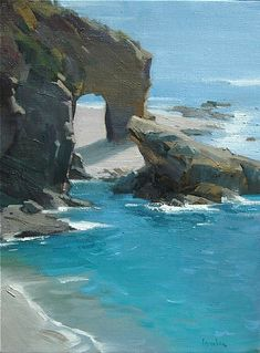 "keyhole,Laguna Beach, Ca. by Robert Lemler Oil ~ 24"" x 18"""