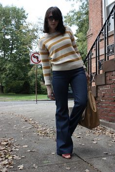 wideleg jeans and stripes