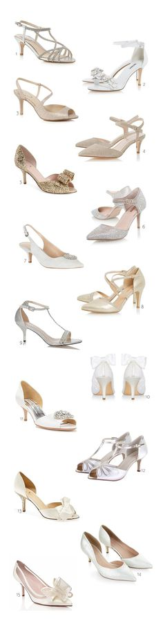 Looking for stylish heels that won't have you in tears on the Big Day? Check out our edit of fabulous low and mid heel wedding shoes...