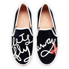"kate spade new york stefy ""let's fly away"" suede skate sneaker (€190) ❤ liked on Polyvore featuring shoes, sneakers, flats, navy, suede flats, slip on shoes, kate spade flats, suede slip-on sneakers and navy blue flats"