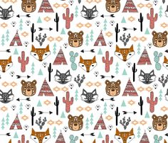 southwest animals // cactus tipi baby fox southwest nursery mint coral bear raccoon animals cute aztec tribal fabric by andrea_lauren on Spoonflower - custom fabric