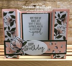 Good Morning Magnolia and Magnolia Lane Designer Series Paper from Stampin' Up! Created by Joanne Mulligan, Independent Stampin' Up! Fun Fold Cards, Folded Cards, Magnolia Gardens, Bridge Card, Creative Cards, Stampin Up Cards, Good Morning, Birthday Cards, Card Making