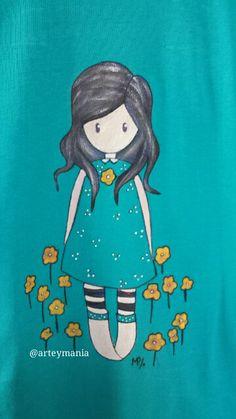 Camiseta pintada a mano..(Talla 40)