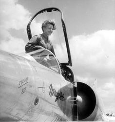 by @AircraftTalking : French test pilot and first supersonic woman Jacqueline Auriol on Mirage III