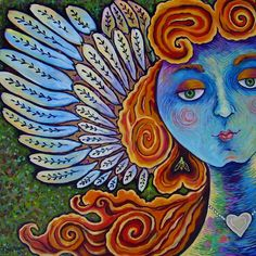 Personalized Folk Art Angel Painting by Dee Sprague.