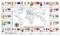 A worksheet for practicing and learning the countries and nationalities around…