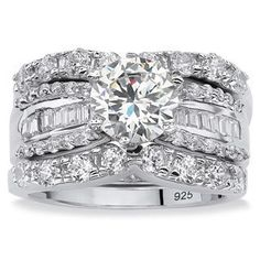 PalmBeach 5.62 TCW Round Cubic Zirconia Three-Piece Bridal Set in Platinum over Sterling Silver Glam CZ