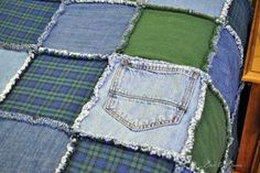 blue jean rag quilt for men using old t-shirts and flannel shirts