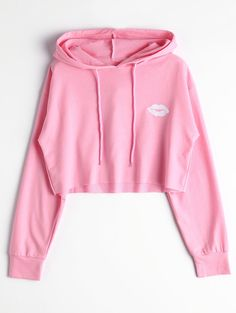 Hoodies | Light Pink S Cute Print Cropped Hoodie - Gamiss