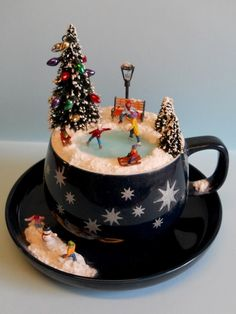 'Skating Amongst the Stars' - #teacup #diorama #miniature - by Love Harriet @ www.lilyanddot.co...