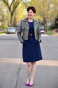 Already Pretty outfit featuring gray leather motorcycle jacket, navy ponte dress, magenta belt, magenta suede pumps, chain drop earrings