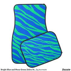Bright Blue and Neon Green Zebra Striped Floor Mat