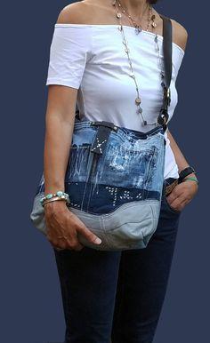 Denim Bag, Denim Shoulder Bag, Denim, Denim Handbag, Denim Leather Bag, Handbag, Jeans bag, Borse in jeans,  Bucket Bag by ADENKIN on Etsy https://www.etsy.com/listing/469909136/denim-bag-denim-shoulder-bag-denim-denim
