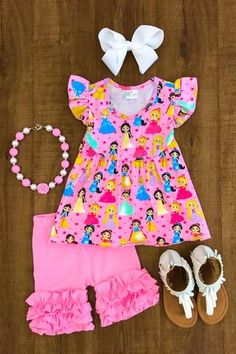 Pretty Pink Princesses Ruffle Short Set