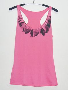 Pink shirt size XS vintage Feather tank top Teen by StoneTshirts, $10.50
