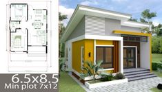 Small 5 Bedroom House Plans Beautiful Small Home Design Plan 6 with 2 Bedrooms Samphoas Simple House Plans, Simple House Design, Tiny House Plans, Modern House Plans, Modern House Design, Two Bedroom Tiny House, 2 Bedroom House Plans, Casa Loft, Narrow House