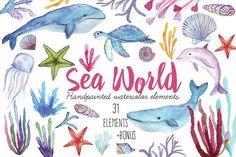 31 elements of undersea world by digital_essence on @creativemarket