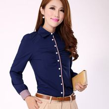 Womens Casual formales mujeres blusa Shirts Ladies Tops blusas elegantes tallas grandes ropa 2016 de la camisa de manga larga mujer S-XXL(China (Mainland))