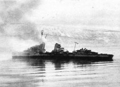 Second Battle of Narvik, 13 April 1940 - German destroyer drifting Narvik, Soviet Army, Tromso, World War Two, Seas, Ww2, Vikings, Norway, Pirates