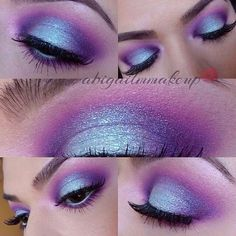 45 Lovely Smoky Purple Eye Makeup Tutorials - Augen make up - Purple Eye Makeup, Glitter Eye Makeup, Eye Makeup Tips, Eyeshadow Makeup, Hair Makeup, Makeup Ideas, Golden Eyeshadow, Eyeshadow Palette, Makeup Kit