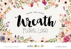 wreath watercolor flower logo design wreath logo by atelierabeille
