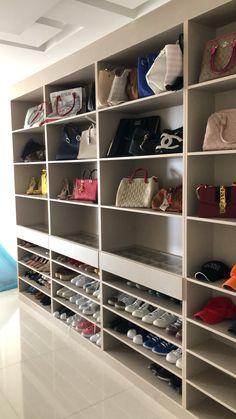 Closet Shoe Storage, Closet Shelves, Closet Organization, Shoe Closet, Indian Bedroom Decor, Home Nail Salon, Sexy Home, Linen Cupboard, Closet Remodel