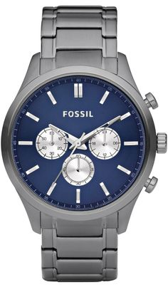 Fossil Men's FS4631 Walter Plated Stainless Steel Smoke Bracelet Blue Dial Watch < $97.94 > Fossil Watch Men