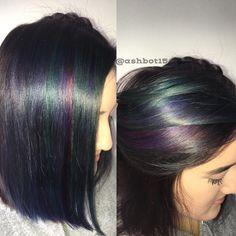 Oil slick Galaxy hair