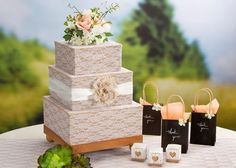 Burlap and lace covered card box
