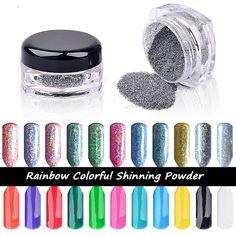 2g/box Colorful Laser Silver Mirror Powder Rainbow Nail Powder Dust Glitter Chrome Pigment Nail Art Sequins Nail ManicureTools