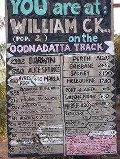 Outback Australia - William Creek road sign